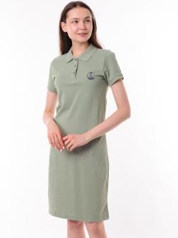 Платье-поло зеленый