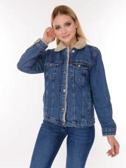 Джинсовая куртка с мехом женская Темно-синий