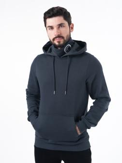 Толстовка мужская с капюшоном темно-серый