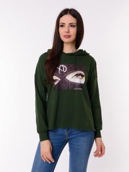 Свитшот женский Темно-зеленый